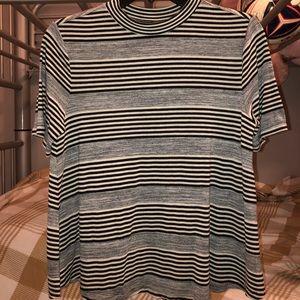Striped short -sleeve mock neck top